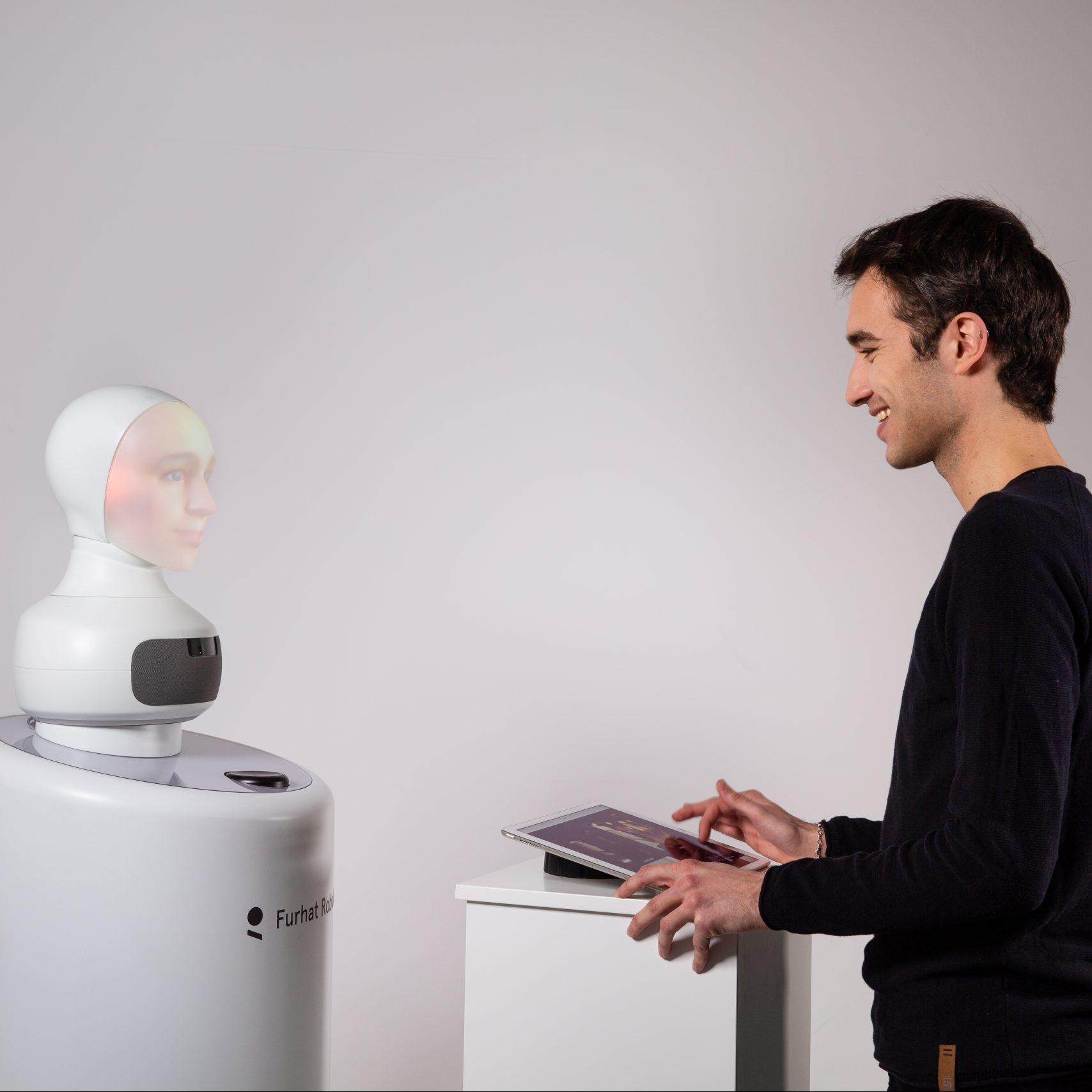 Concept Social robots in customer service What will your future…